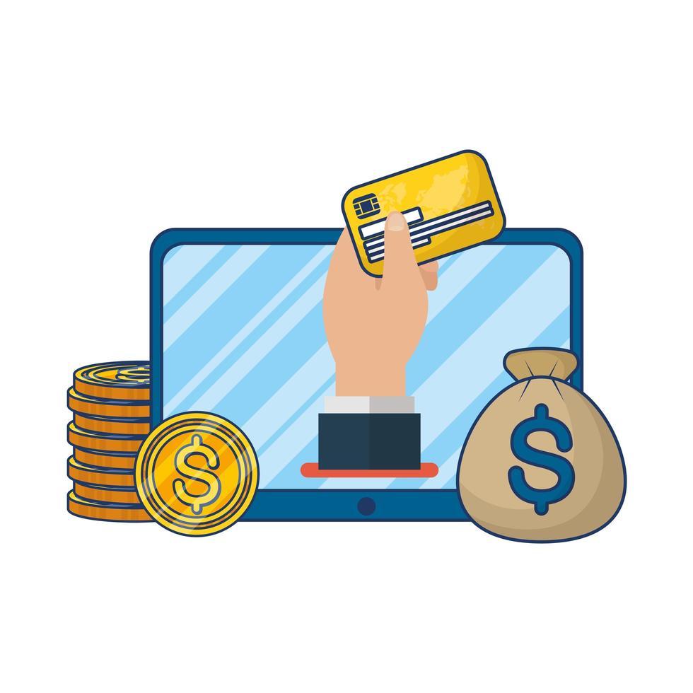 Online-E-Commerce auf Tablet mit Münzen und Kreditkarte vektor