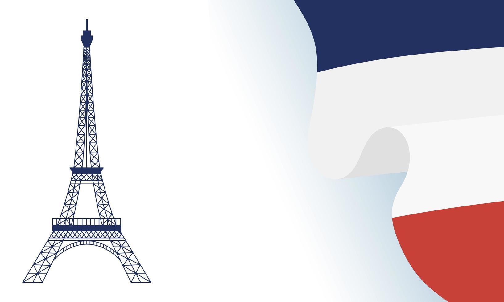 Eiffelturm mit Frankreich-Flagge für glücklichen Bastille-Tagesvektorentwurf vektor