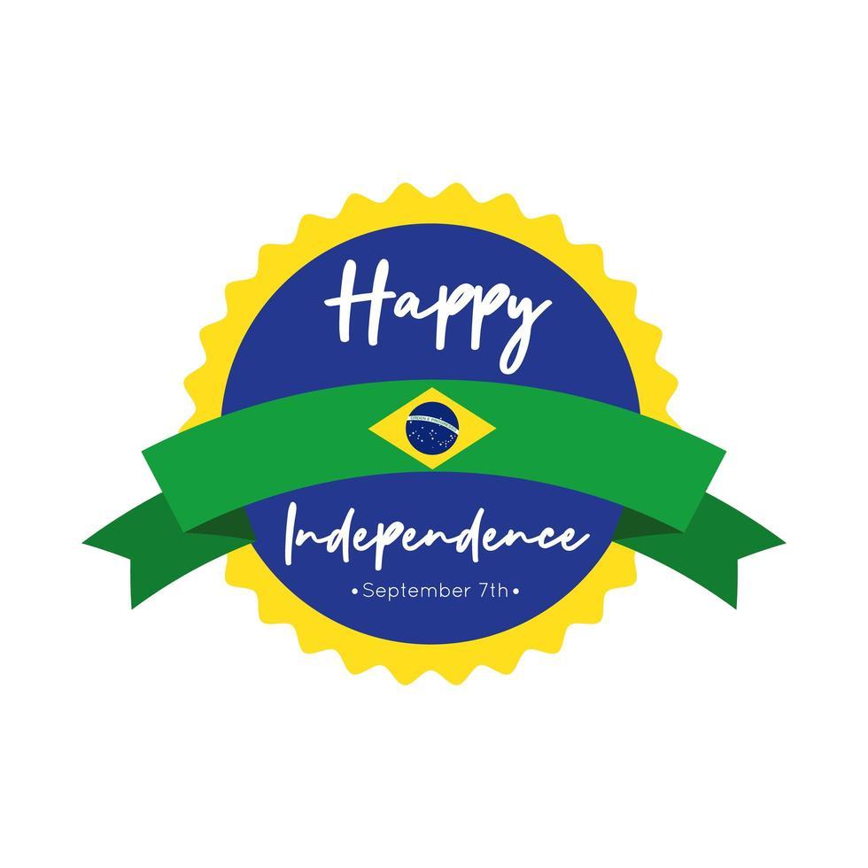 Glückliche Unabhängigkeitstag Brasilien Karte mit Flagge und Bandrahmen flachen Stil vektor