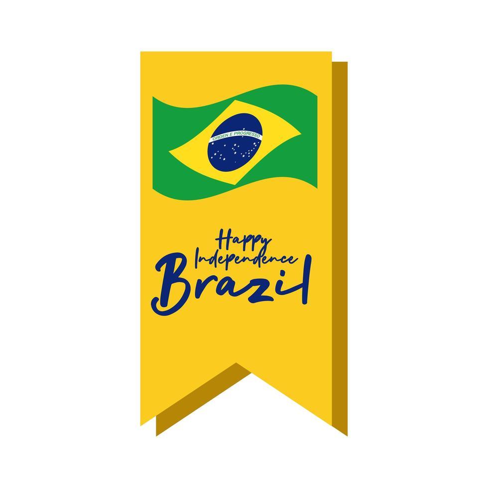 glückliche Unabhängigkeitstag Brasilien Karte mit Flagge auf Band flachen Stil vektor
