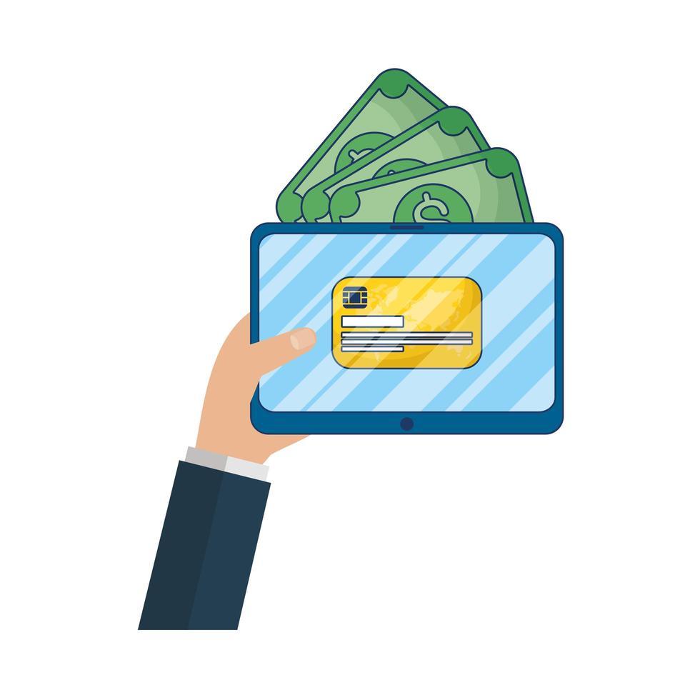 Online-E-Commerce auf Tablet mit Rechnungen und Kreditkarte vektor