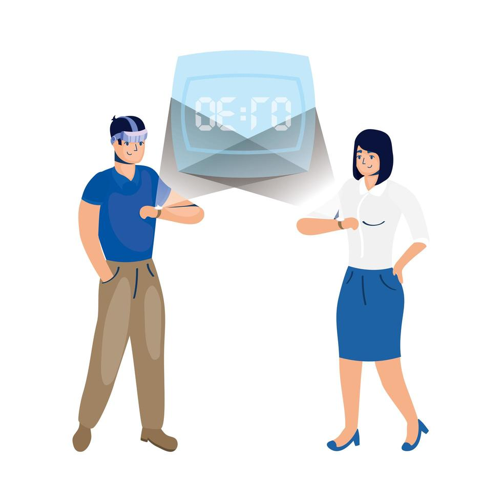 Paar mit Virtual-Reality-Technologie in Smartwatch vektor