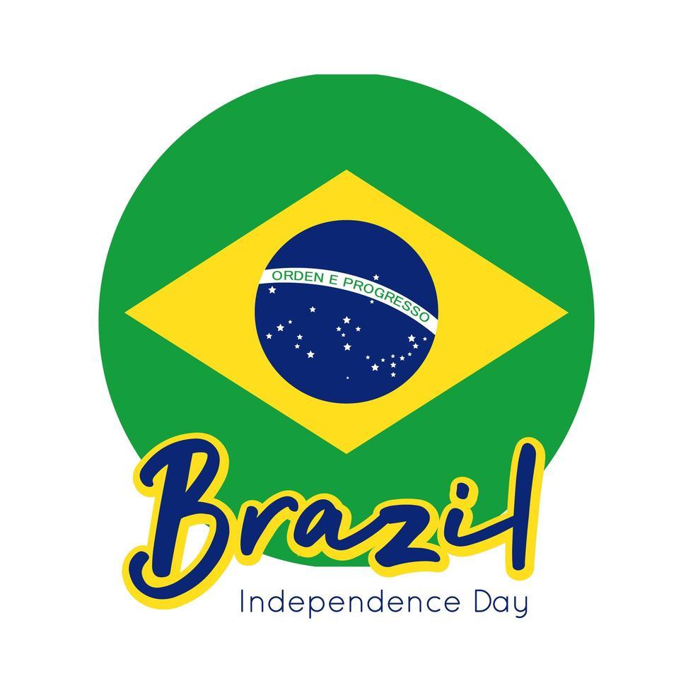 glücklicher Unabhängigkeitstag Brasilien Karte mit Flaggensiegel flachen Stil vektor