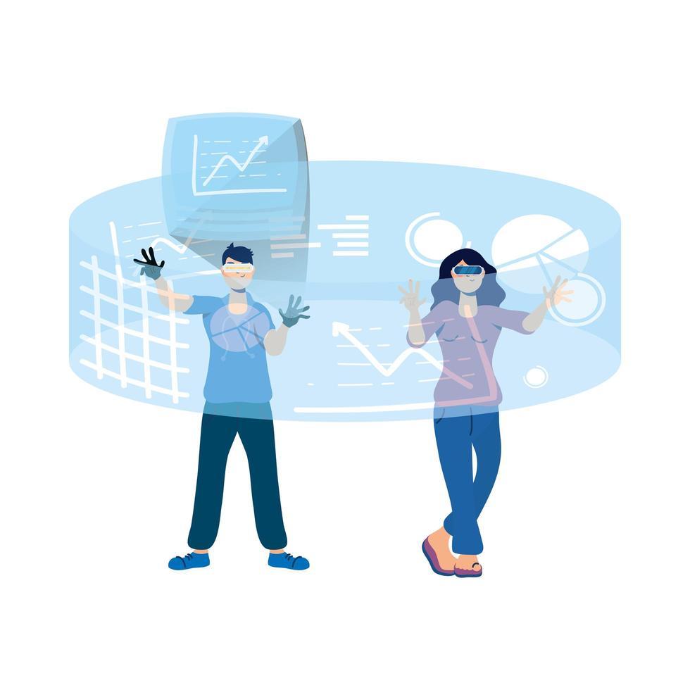 Paar mit Virtual-Reality-Technologie in interaktiver Anzeige vektor