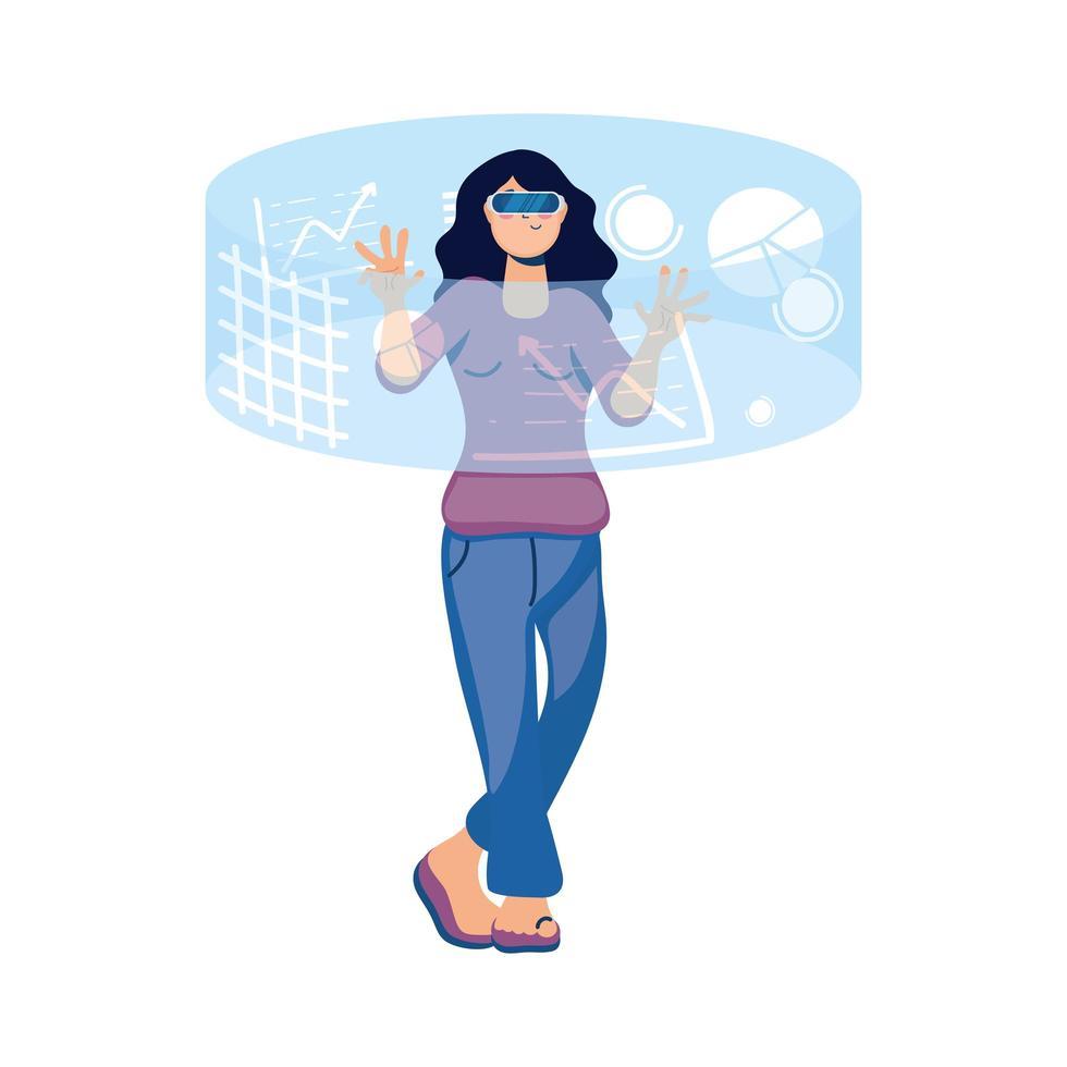 Frau, die Virtual-Reality-Technologie in der interaktiven Anzeige verwendet vektor