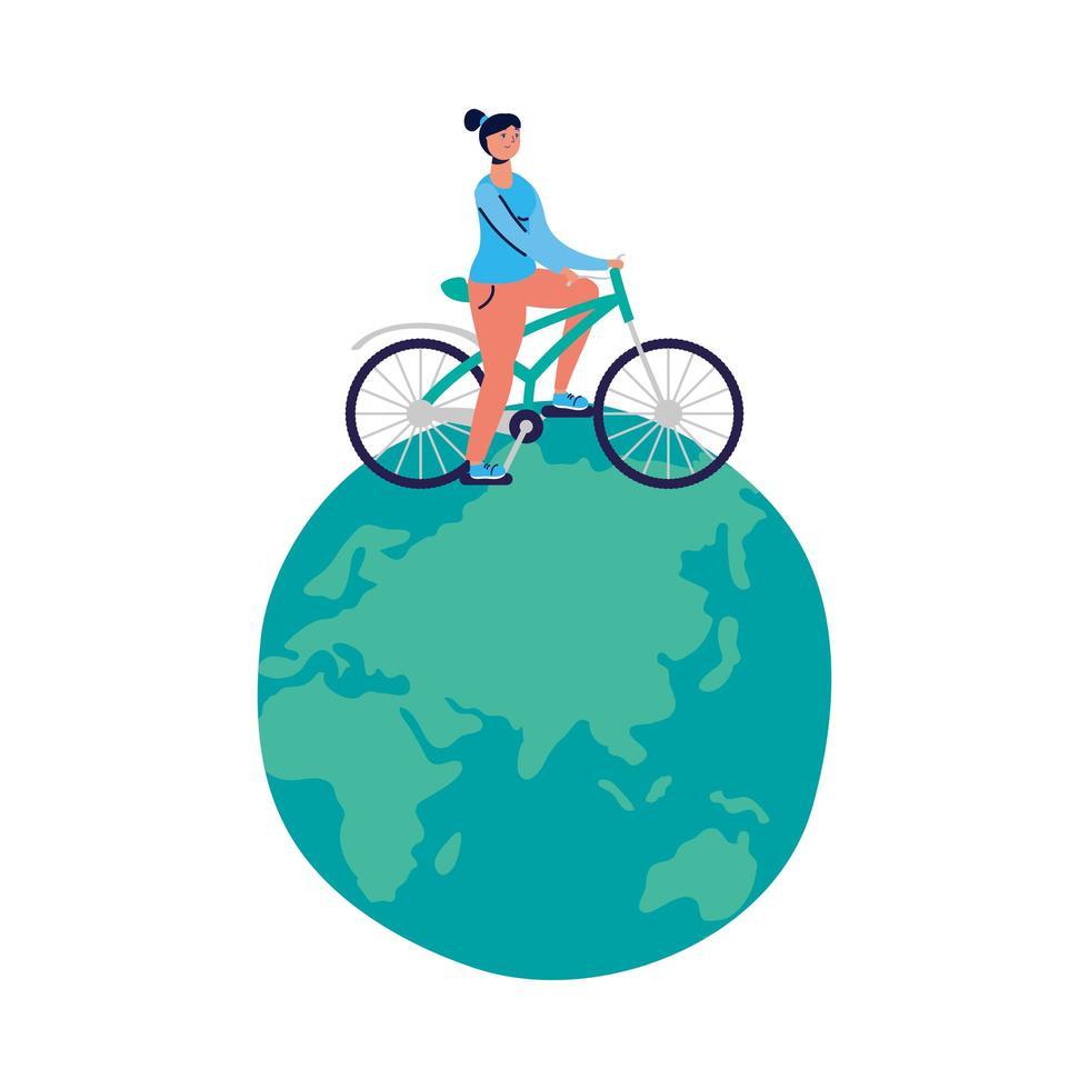 junge Frau auf dem Fahrrad auf der Erde vektor