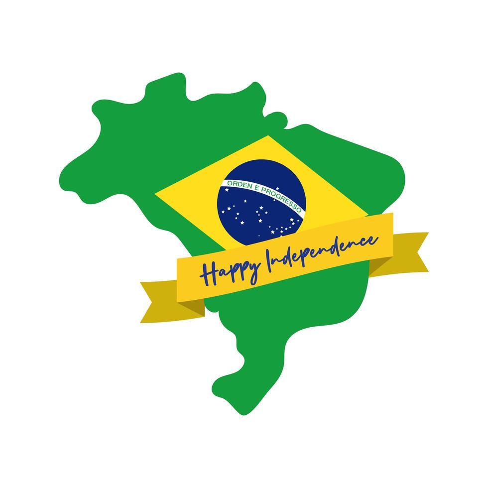 glückliche Unabhängigkeitstag Brasilien Karte mit Flagge in Karte flachen Stil vektor