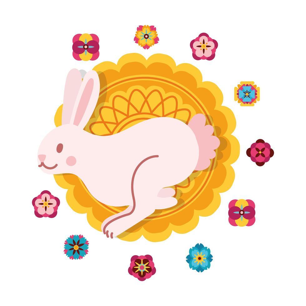 Mittherbstfestkarte mit flacher Stilikone des Kaninchens und der Spitze vektor