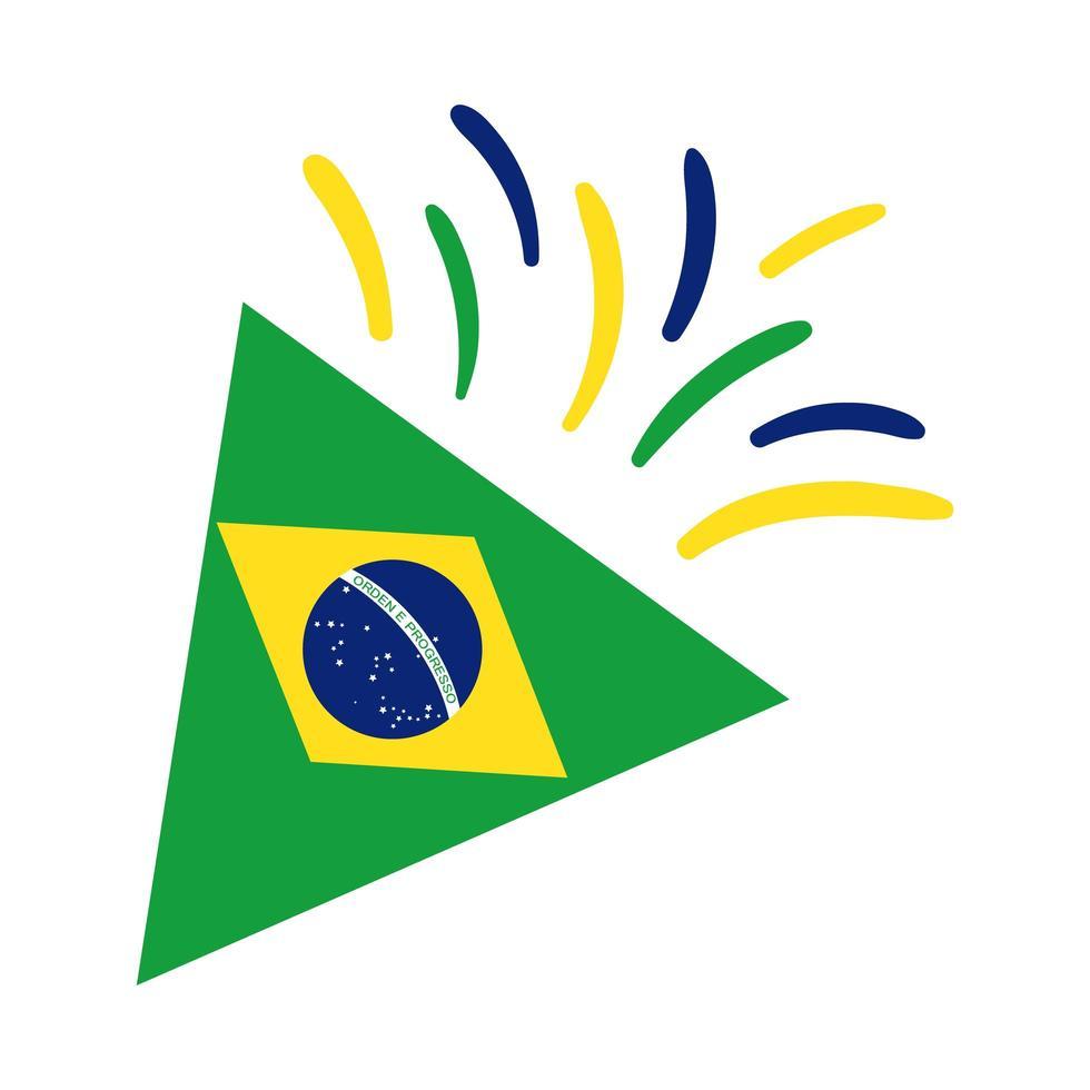 Brasilien Flagge auf Party Kornett flache Stilikone vektor