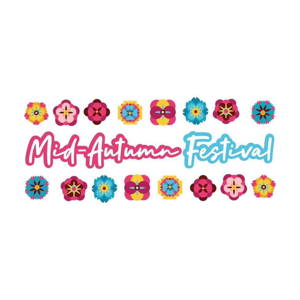 Mittherbstfestkarte mit Schriftzug und Blumenflache Stilikone vektor