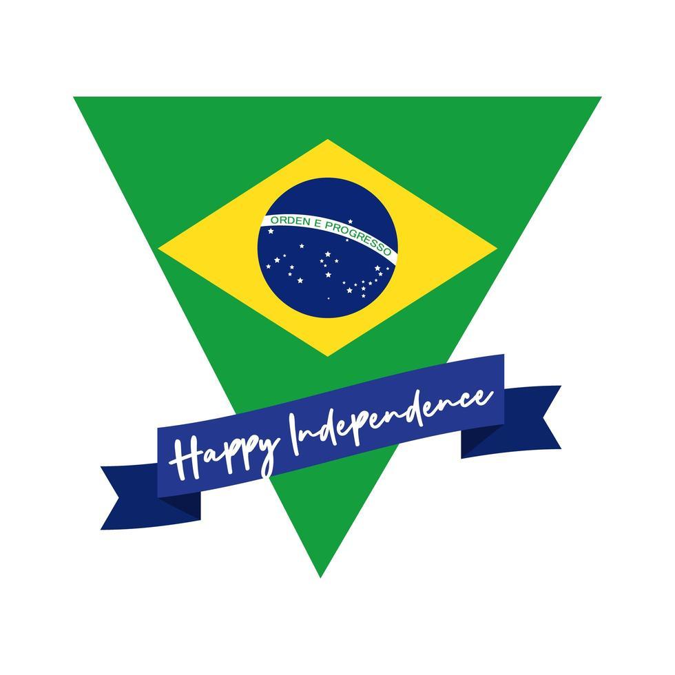 glückliche Unabhängigkeitstag Brasilien Karte mit Flagge im Dreieck flachen Stil vektor