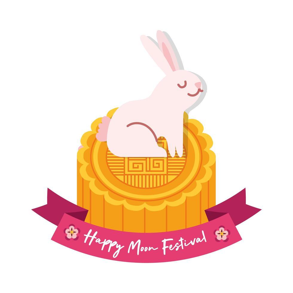 Mittherbstfestkarte mit Kaninchen in Siegelflache Stilikone vektor