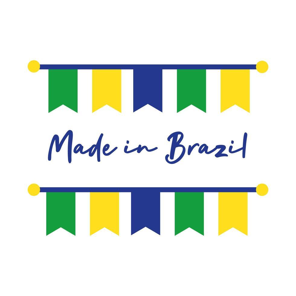 Made in Brazil Banner mit hängenden Girlanden vektor