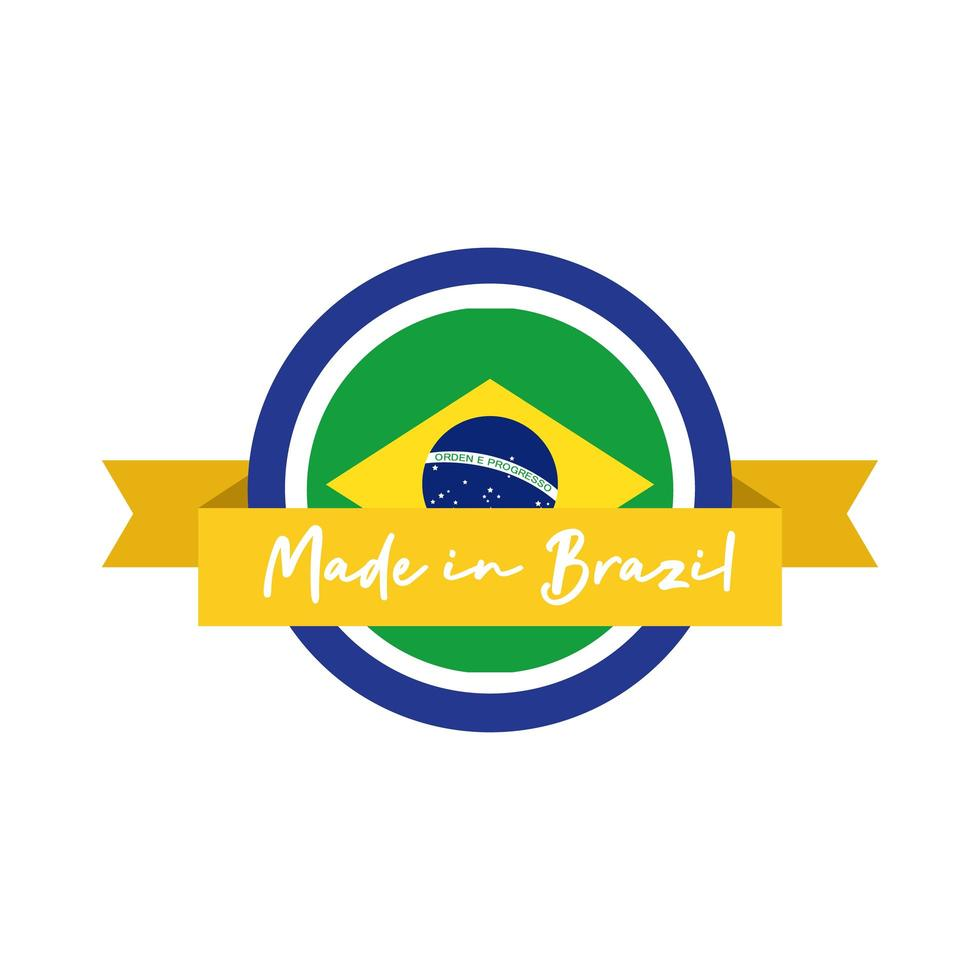 Made in Brazil Banner mit Flagge und Band vektor