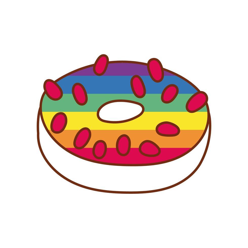 süßer Donut mit schwulen Stolzfarben vektor
