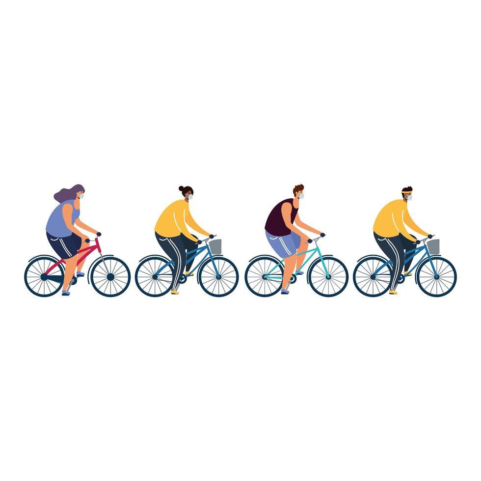 junge Leute, die medizinische Masken auf Fahrrädern tragen vektor