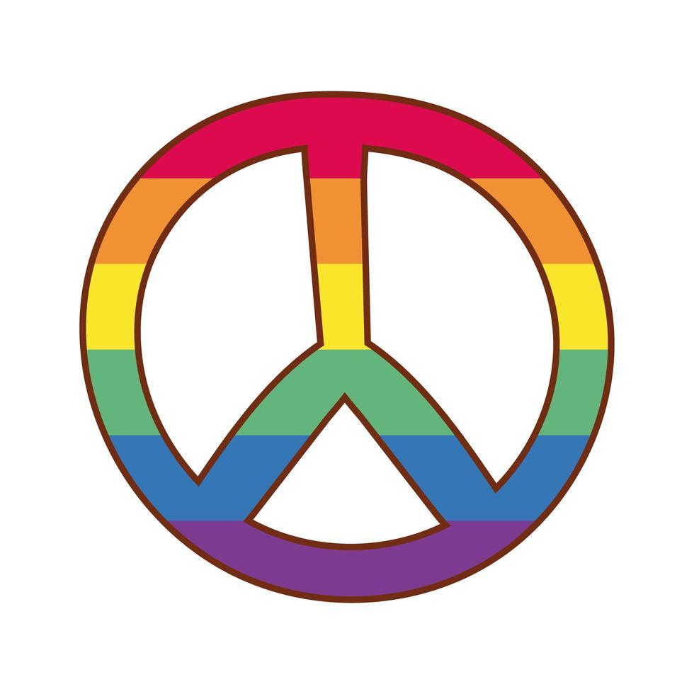 Friedenssymbol mit schwulen Stolzfarben vektor