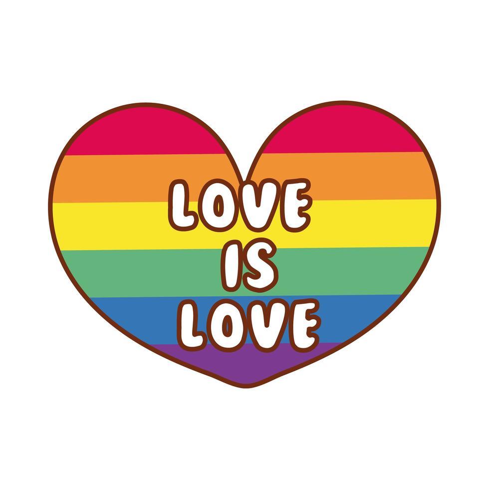 lgbtiq Gemeinschaftsflagge im Herzen mit Liebe ist Liebesbeschriftung vektor