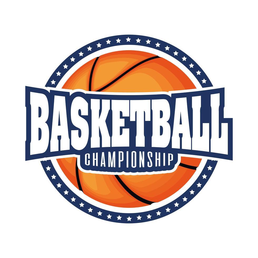 Basketballturnier Wappen mit Basketball und Sternen vektor
