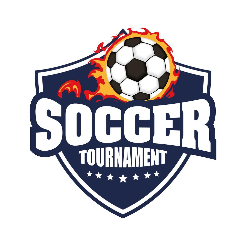 Fußballikone mit Schild und Ball in Flammen vektor