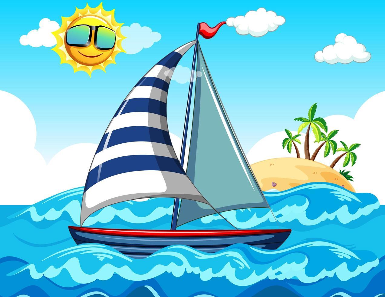 Seeszene mit einem Segelboot vektor