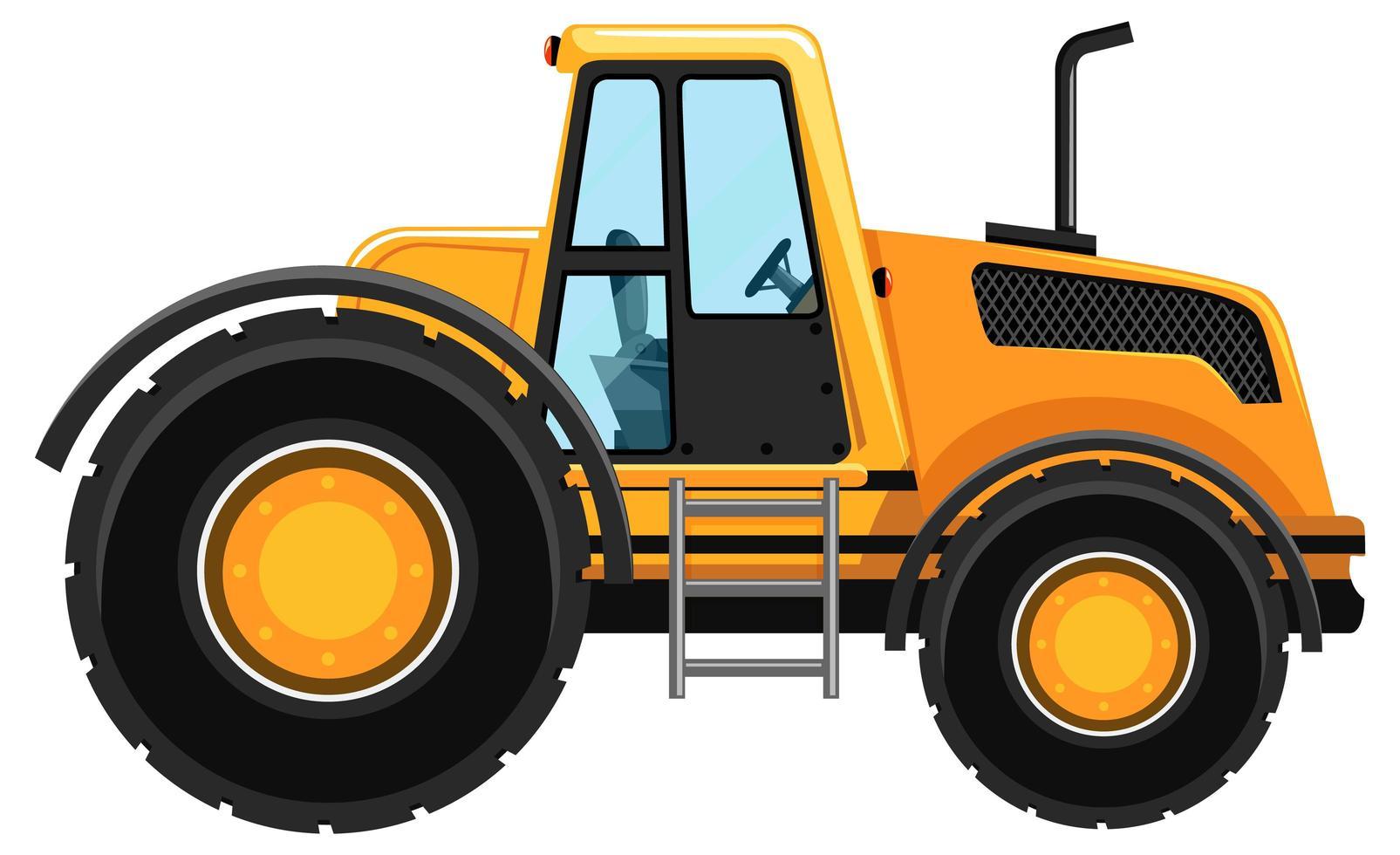 gelbes Bauauto lokalisiert auf weißem Hintergrund vektor