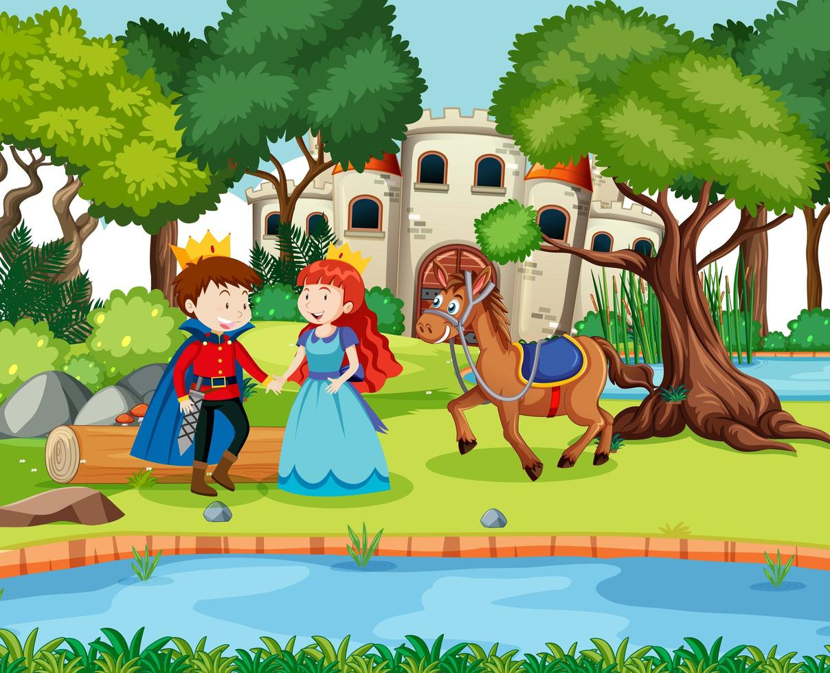 Szene mit Prinz und Prinzessin auf der Burg vektor