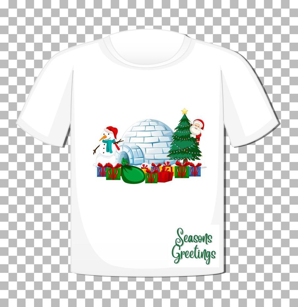Santa Claus Zeichentrickfigur auf T-Shirt vektor