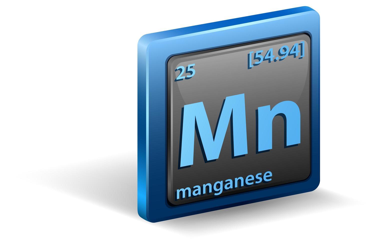 chemisches Manganelement. chemisches Symbol mit Ordnungszahl und Atommasse. vektor