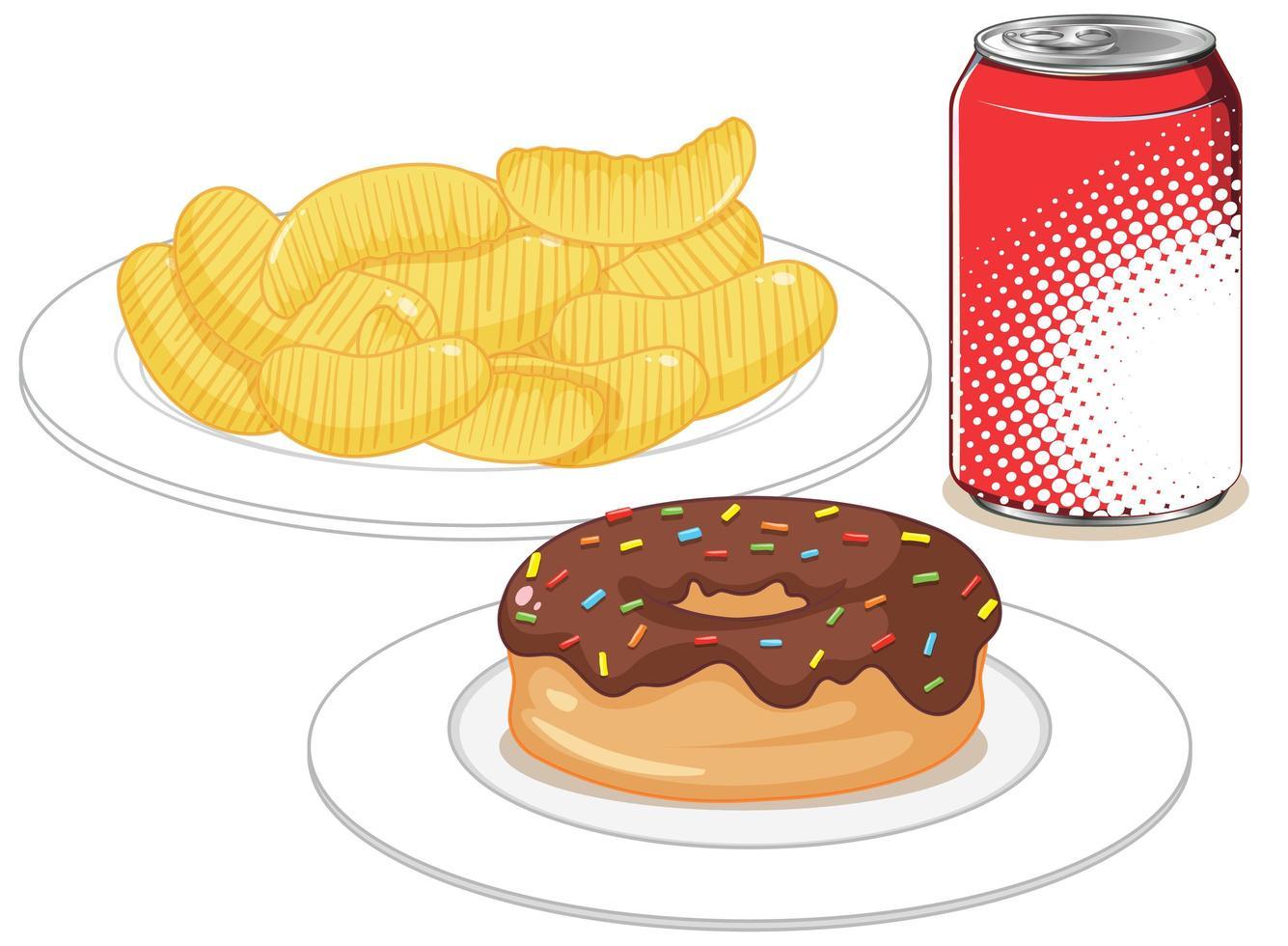 Fast Food oder Junk Food Snack isoliert auf weißem Hintergrund vektor