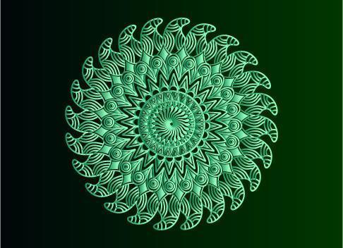 grüner dekorativer, blumiger und abstrakter arabesque Mandalaentwurf vektor