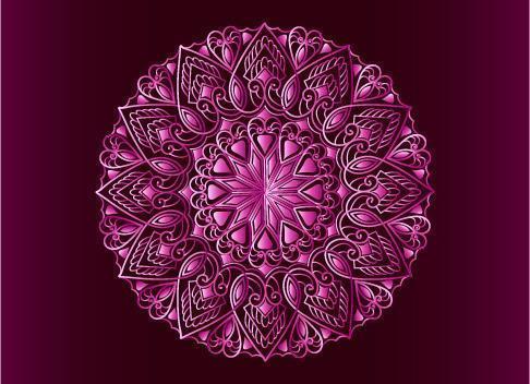 rosa dekoratives, blumiges und abstraktes arabesque Mandala-Design vektor