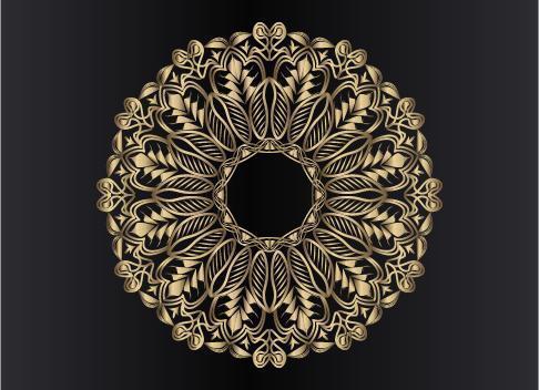 Roségold dekoratives, florales und abstraktes Arabesken-Mandala-Design vektor