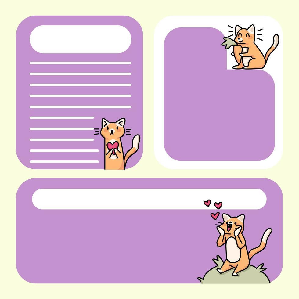 anteckningsblock söta kattdesigner för att göra listan dagliga anteckningar vektor