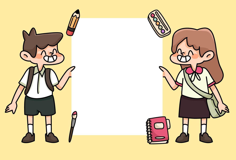 barn glada tillbaka till skolan studie ritning illustration vektor