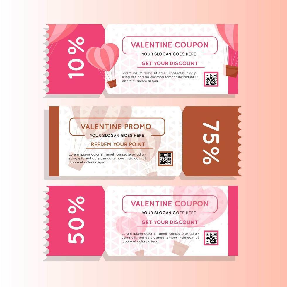 Valentinstag Marketing Coupon Promo vektor