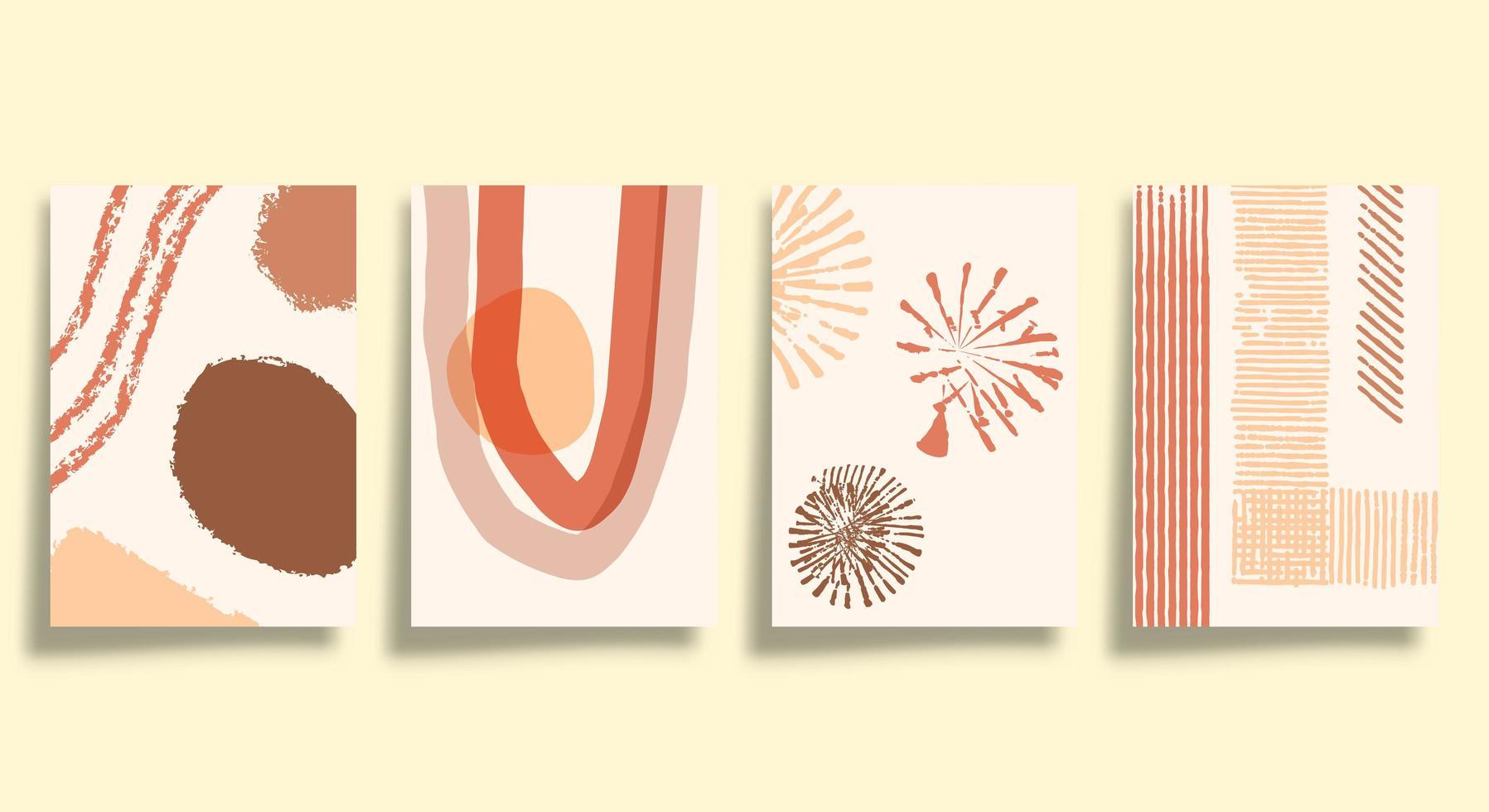uppsättning abstrakta minimalistiska typografiöverdrag vektor
