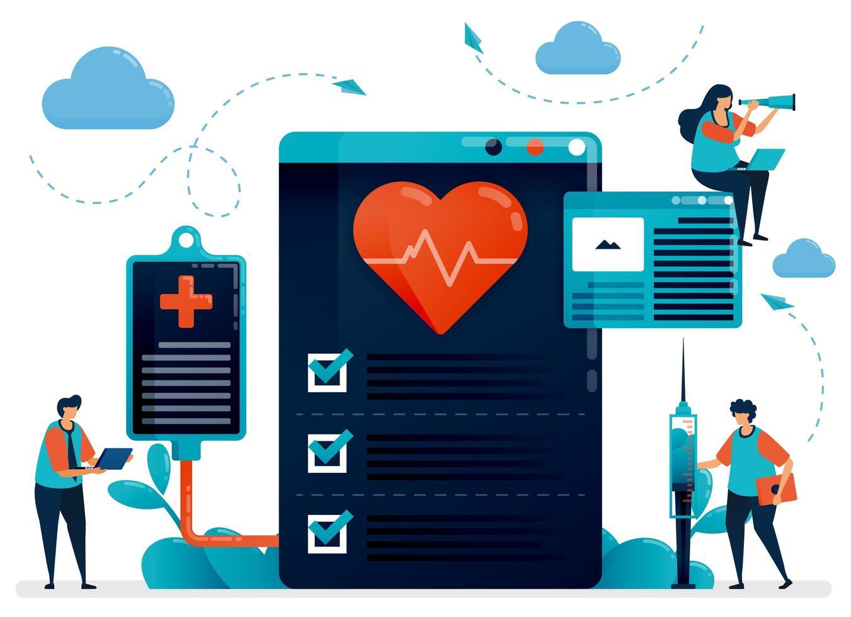medicinsk kardiologisk kontroll för hälsa. sjukhus, klinik, laboratorium för diagnos och behandling av hjärtsjukdom ,. platt karaktär vektorillustration för målsida, webb, banner, mobilappar, affisch vektor