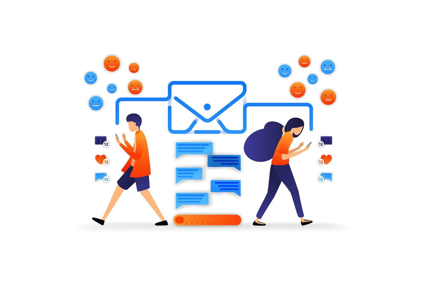 modern kommunikation med teknik. chattapplikation med kuvert. dialog med sociala medier. vektor illustration koncept för, målsida, webb, ui, banner, flygblad, affisch, mall, bakgrund