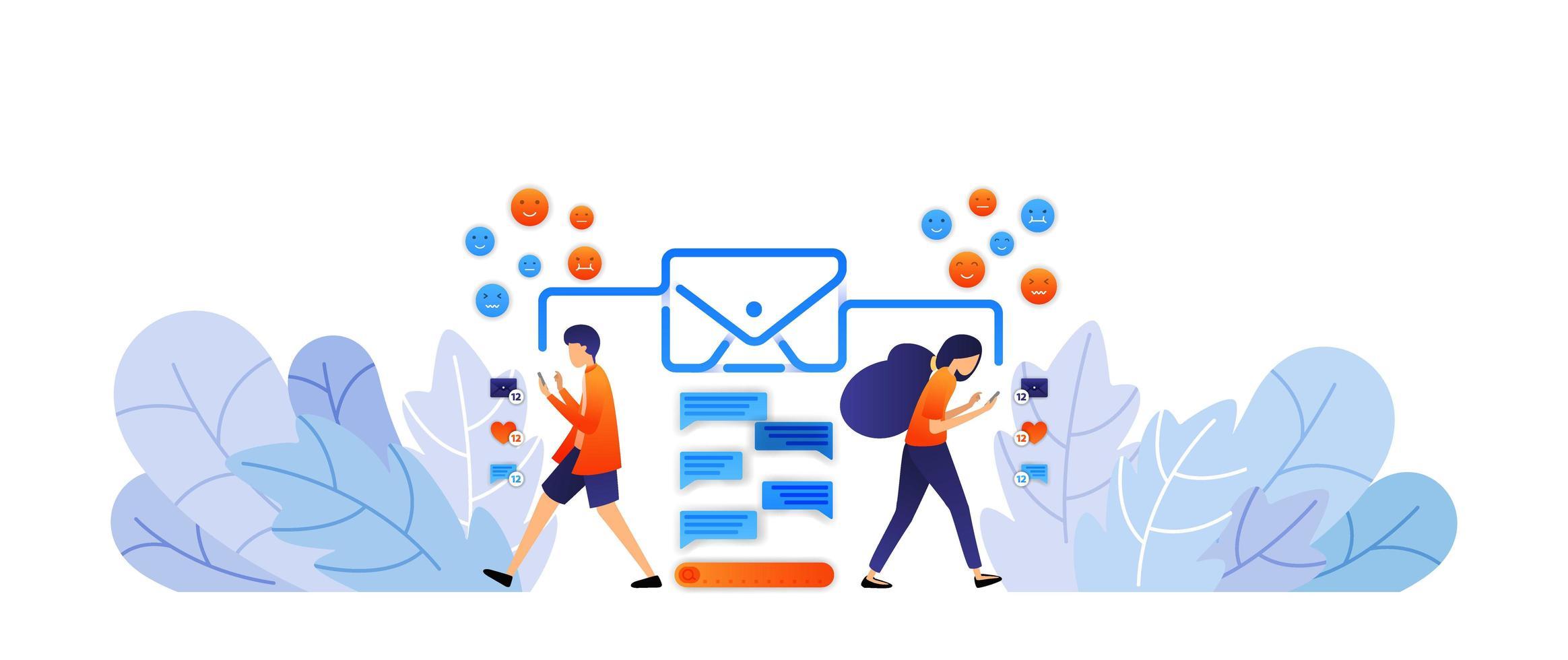 utbyta meddelanden med sociala medier. skicka digitala meddelanden och uttryckssymboler med kuvert. prata genom att skriva vektorillustrationskoncept för målsida, webb, ui, banner, affisch, mall, bakgrund vektor