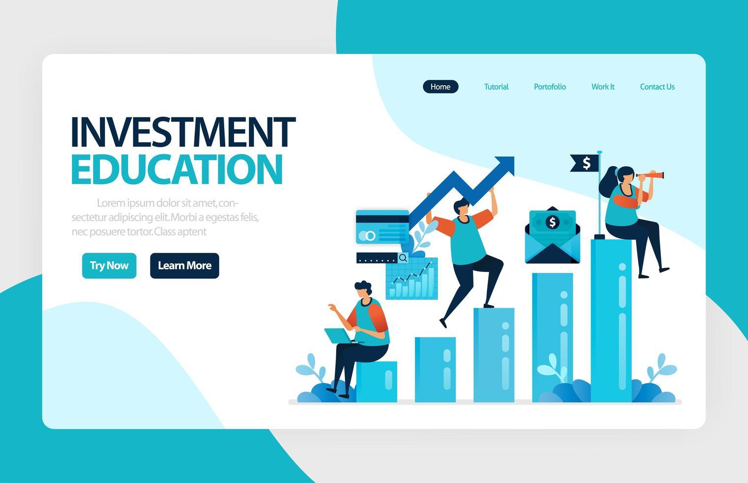 målsidesvektordesign för investeringsutbildning. avkastning på investering med planering, aktiemarknad och fonder, ränta, penningmarknad. för banner, illustration, webb, webbplats, mobilappar vektor