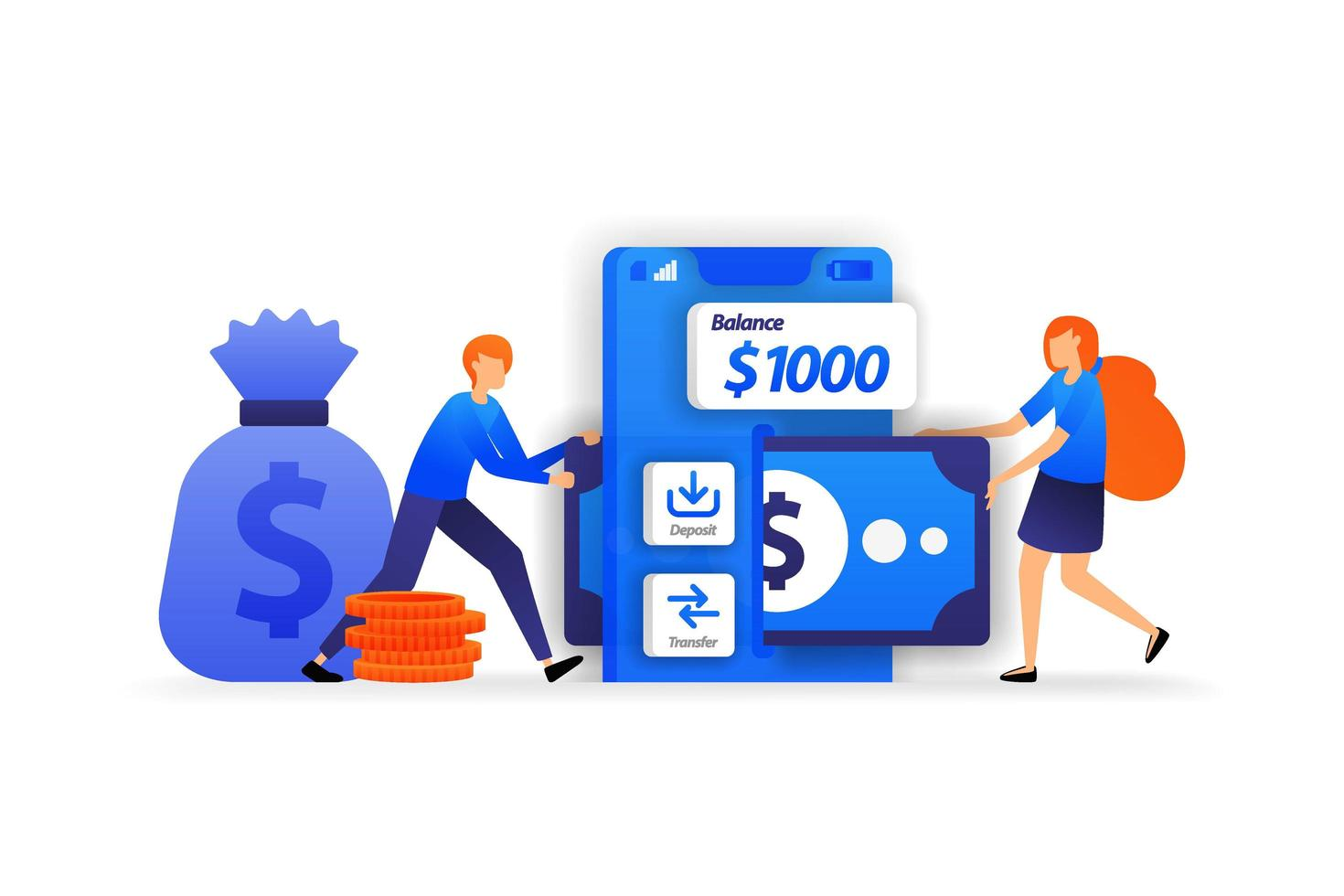 mobilbankappar. säker plats att spara pengar, en kvinna lägger till pengar för att sätta in på kontot. affärsvektorillustrationskoncept för, målsida, webb, ui, banner, flygblad, affisch, mall, bakgrund vektor
