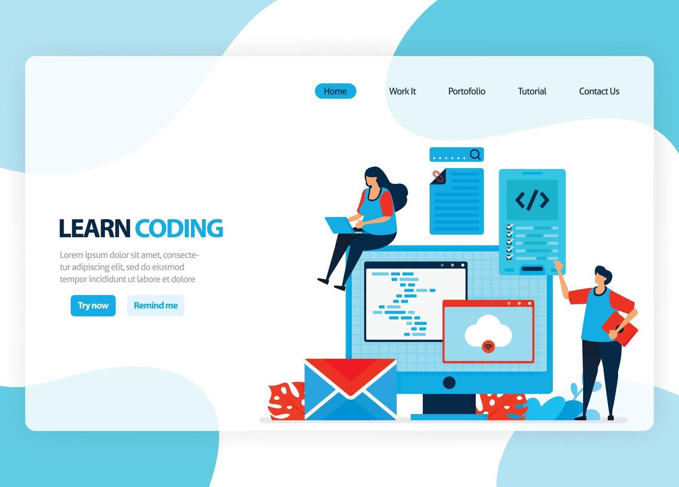 vektorhemsida för inlärning av programmering och kodning. applikationsutveckling med ett enkelt programmeringsspråk. platt illustration för målsida, mall, ui ux, webb, mobilapp, banner, flygblad vektor