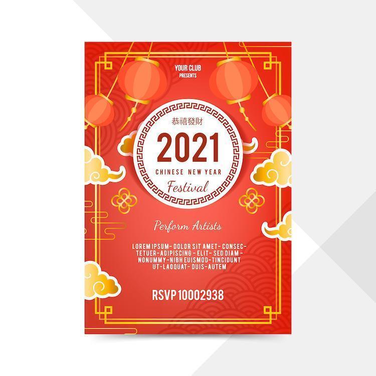 röd och guld kinesisk nyårsfestival affisch vektor