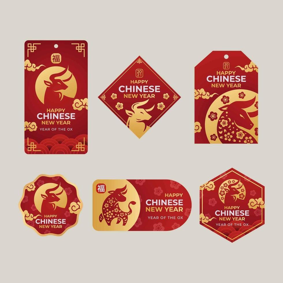 uppsättning av kinesiska nyåret gyllene oxpapper klipp etikett vektor