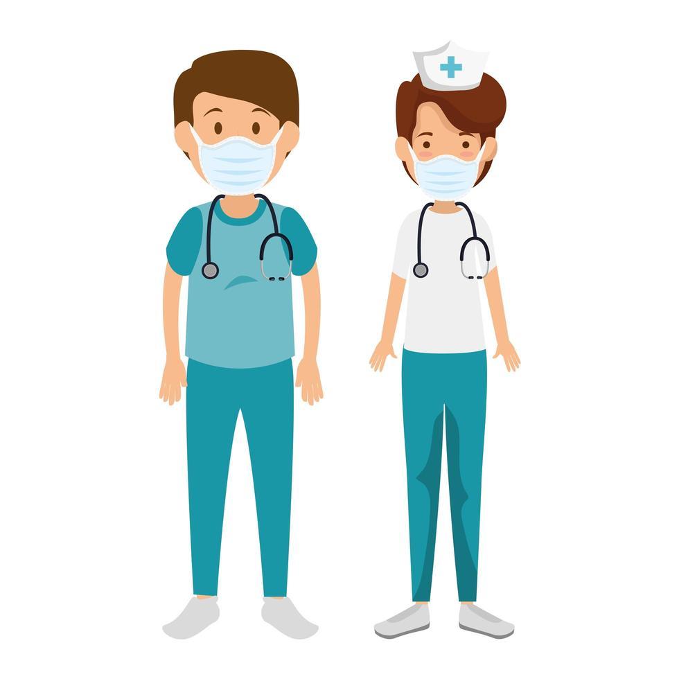 männlicher Sanitäter mit Krankenschwester mit Gesichtsmaske vektor