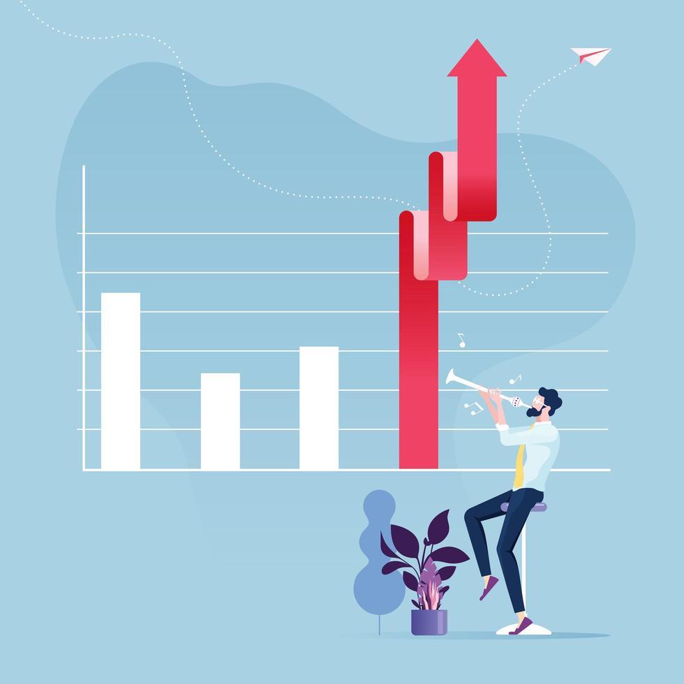 Geschäftswachstumskonzept mit Geschäftsmann, der Aufwärtspfeilgraph macht vektor