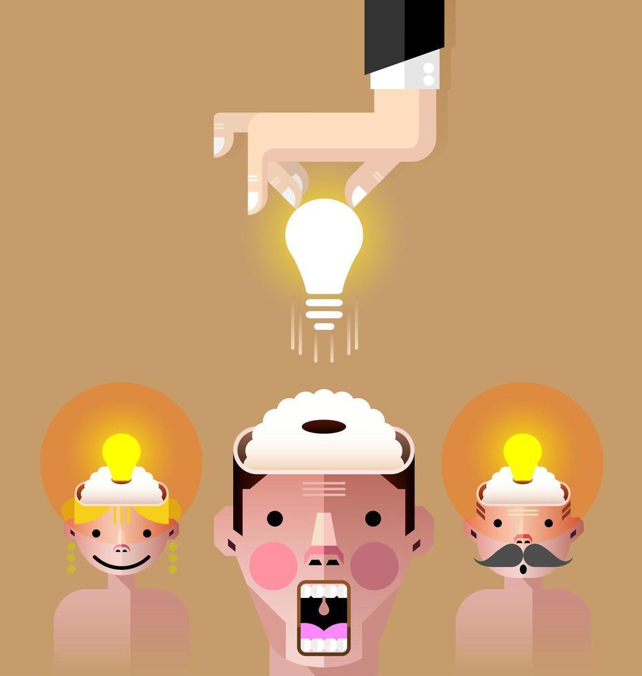 Gehirn Idee Glühbirne Vektor