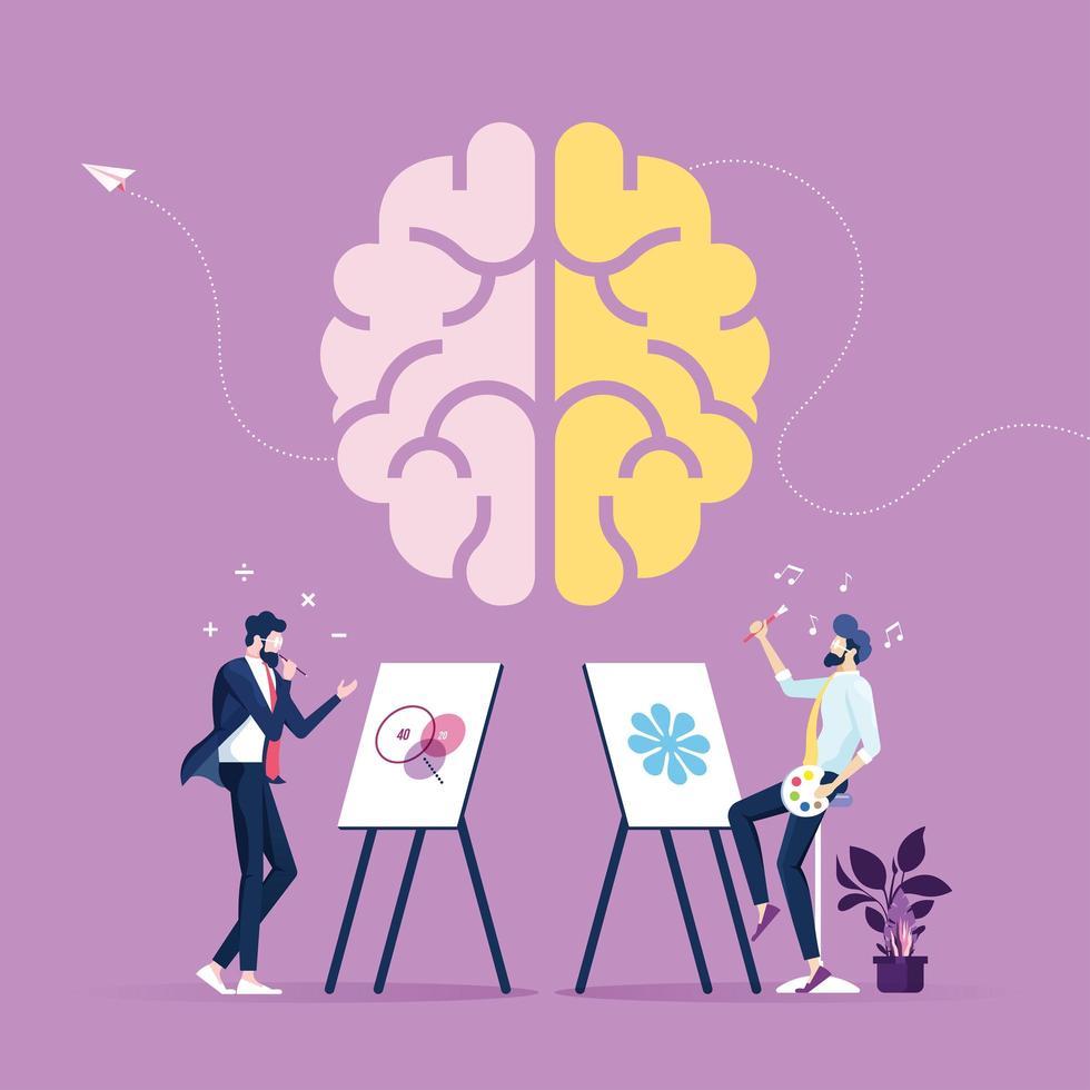 vänster och höger mänsklig hjärna koncept-kreativ del och logikdel med social och affärsvektor vektor