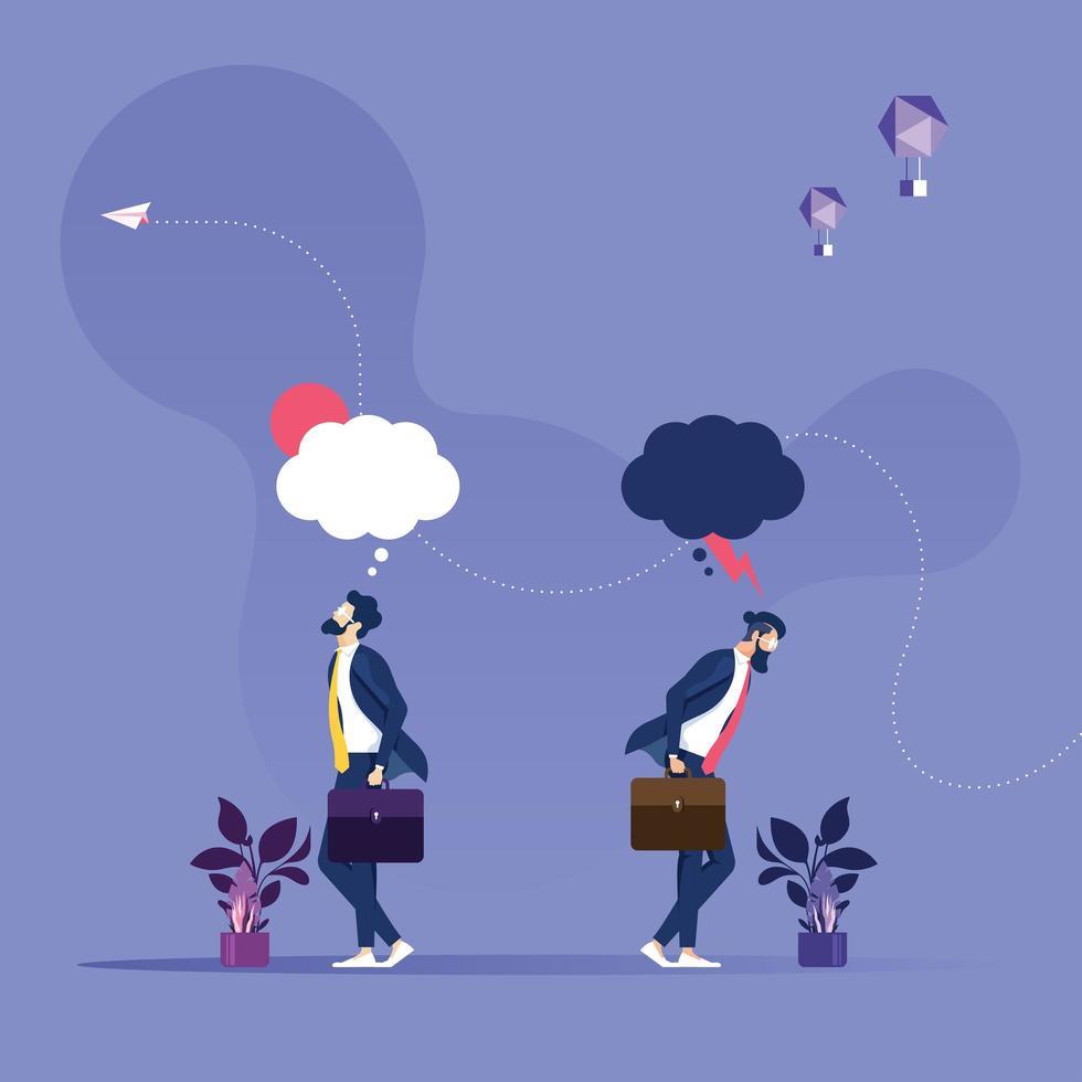 två affärsmän i olika känslor - affärsidévektor vektor
